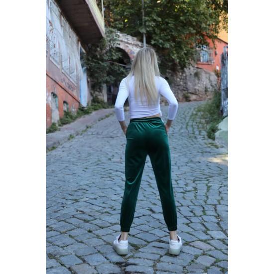 Bayan Yeşil Kadife Eşofman