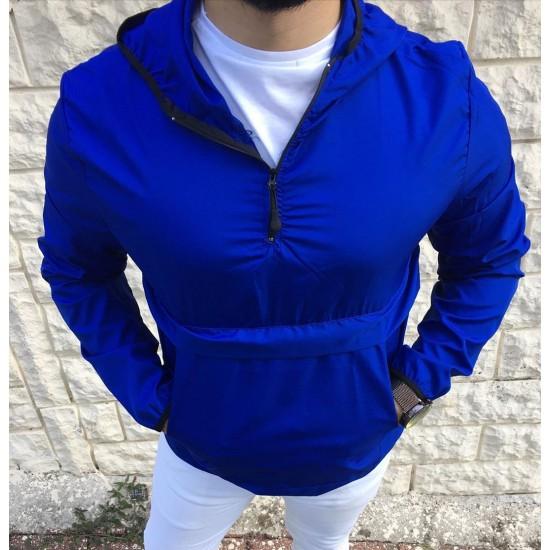 Bay Mavi Yarım Fermuarlı Kapşonlu Yağmurluk