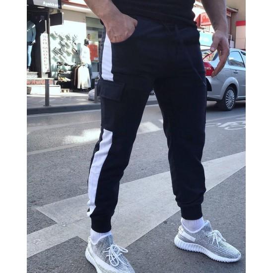Bay Beyaz Şeritli Kargo Cep Siyah Eşofman