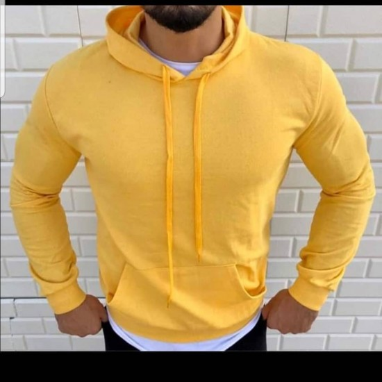 Bay İki İplik Kapşonlu Sarı Sweatshirt