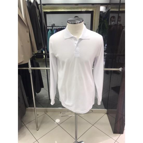 Bay Polo Yaka Uzun Kol Beyaz Tshirt