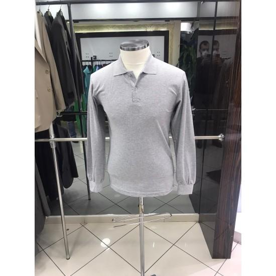 Bay Polo Yaka Uzun Kol Gri Tshirt