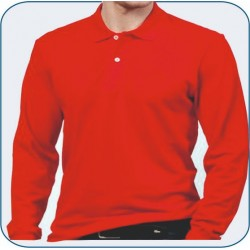 Bay Polo Yaka Uzun Kol Kırmızı Tshirt