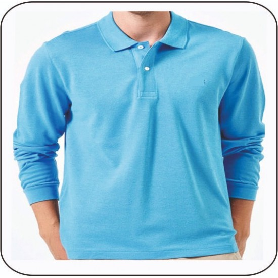 Bay Polo Yaka Uzun Kol Mavi Tshirt