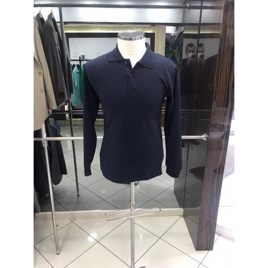 Bay Polo Yaka Uzun Kol Siyah Tshirt