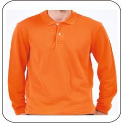Bay Polo Yaka Uzun Kol Turuncu Tshirt
