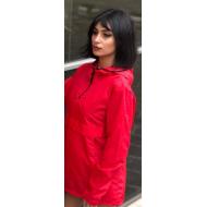 Bayan Kırmızı Yarım Fermuarlı Kapşonlu Yağmurluk