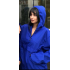 Bayan Mavi Yarım Fermuarlı Kapşonlu Yağmurluk