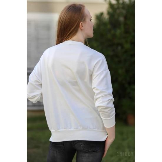 Bayan Bisiklet Yaka Beyaz Sweatshirt