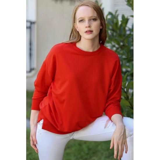 Bayan Bisiklet Yaka Kırmızı Sweatshirt