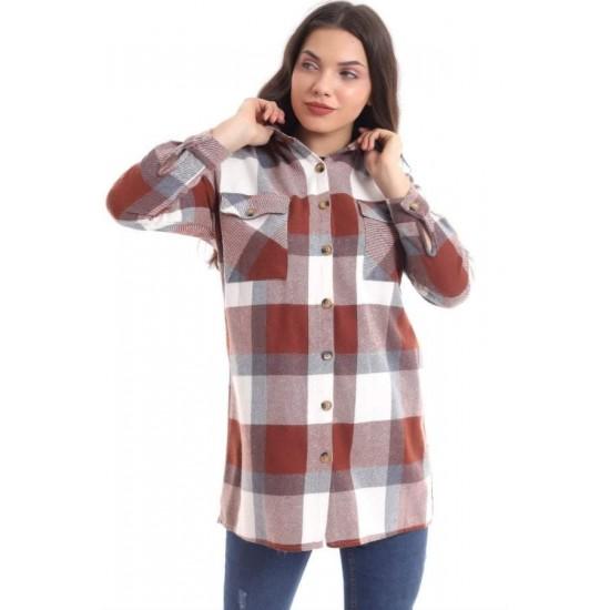 Bayan Bordo Ekoseli Oduncu Gömlek