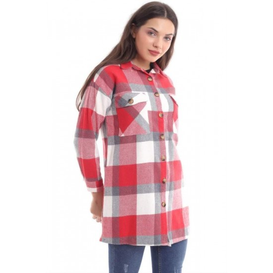 Bayan Kırmızı Ekoseli Oduncu Gömlek