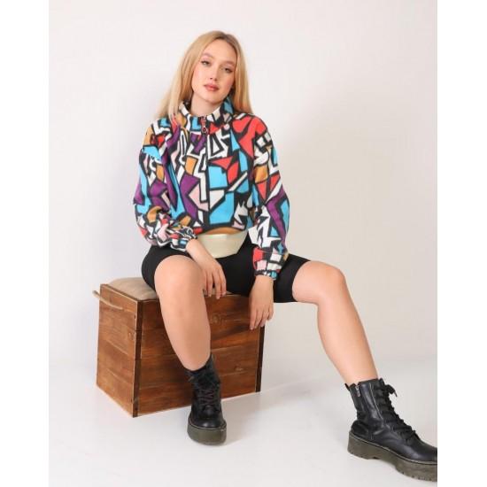 Bayan Fermuar Yaka Renkli Polar Sweatshirt